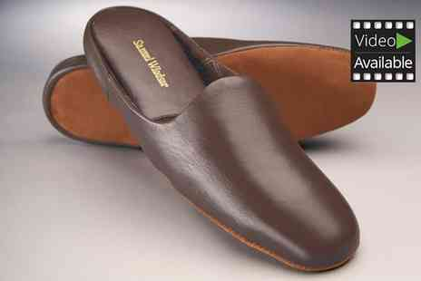 SW Shoes - One or Two Pairs of Samuel Windsor Mens Handmade Leather Slippers - Save 62%