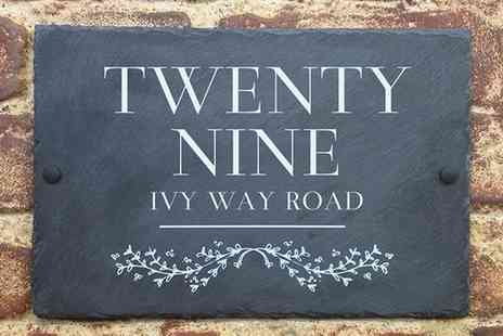 UK Sign Shop - Choice of Personalised Slate House Sign - Save 55%