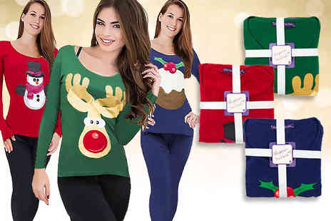 Ckent - Set of ladies Christmas pyjamas choose from three designs - Save 53%
