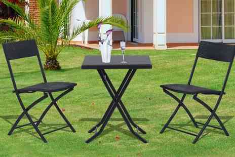 Groupon Goods Global GmbH - Outsunny Three Piece Rattan Effect Bistro Set With Free Delivery - Save 0%
