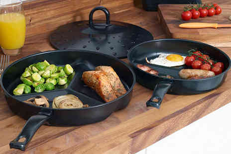 Groundlevel - Black three piece non stick divider frying pan set - Save 70%