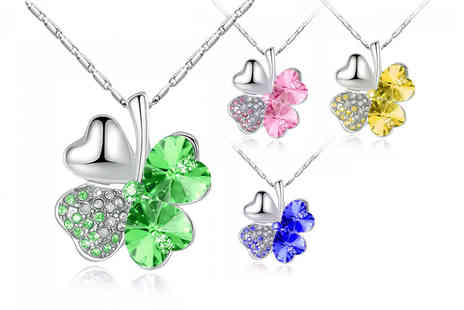 Your Ideal Gift - Four leaf clover crystal necklace choose pink, blue, gold or green - Save 84%