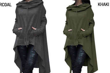 Verso Fashion - Asymmetric Long Sleeved Hooded Top Available in 8 Colours - Save 64%