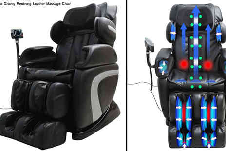 Mhstar - Black Zero Gravity Reclining Leather Massage Chair - Save 17%