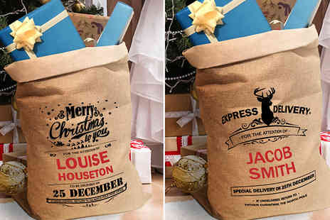 Deco Matters - Personalised Christmas Sacks Choose 5 Options - Save 55%
