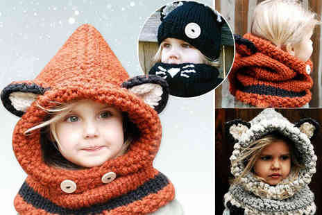 Jewleo - Kids knitted hat and scarf choose from three colours - Save 76%