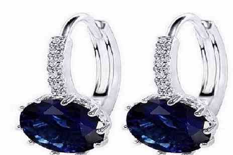 GameChanger Associates - Pair of blue cut simulated sapphire earrings - Save 94%