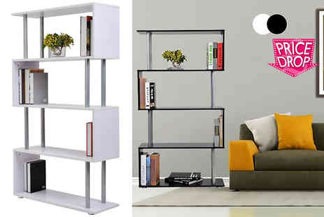 Mhstar - Wooden s shape shelving unit choose from black and white - Save 51%