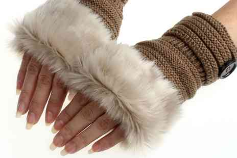 Groupon Goods Global GmbH - One or Two Pairs of Womens Faux Fur Fingerless Gloves - Save 80%