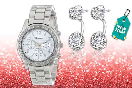 Solo Act - Boyfriend watch with double drop earrings set - Save 69%