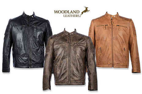 Woodland Leathers - Mens real leather biker jacket - Save 63%