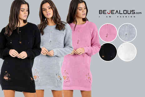 Be Jealous - Oversized ripped jumper dress - Save 55%