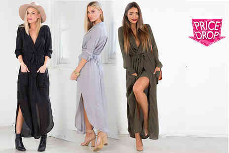 Boni Caro - Belted maxi shirt dress - Save 84%