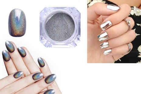 Forever Cosmetics - Holographic or silver Magic Mirror nail powder or get both colours - Save 80%