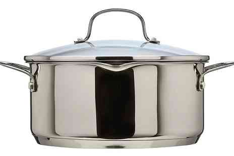 Groupon Goods Global GmbH - Thomas 1404904 Cook & Pour Casserole Pot with Glass Lid, 24cm, 4.7 Litre, Stainless Steel - Save 74%
