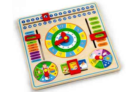 Groupon Goods Global GmbH - Viga Wooden Activity Learning Calendar Clock - Save 60%