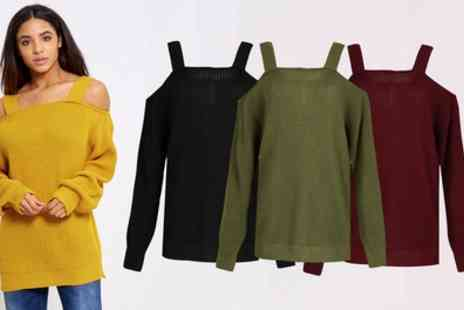 Groupon Goods Global GmbH - Be Jealous Chunky Knit Cold Shoulder Jumper - Save 52%