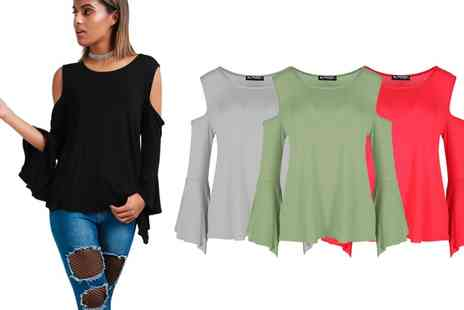 Groupon Goods Global GmbH - Be Jealous Cold Cut Shoulder Bell Sleeve Top - Save 0%