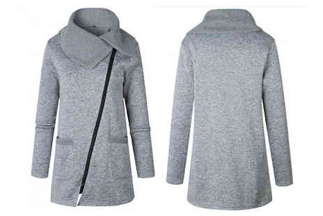 Bazaar me - Asymmetric Jacket With Oversized Collar in UK Sizes 12 to 18 - Save 78%