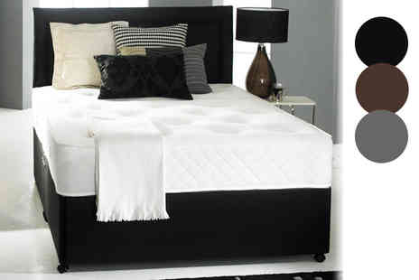Beds 24hr - Faux leather memory divan bed set choose from five sizes and optional drawers - Save 63%