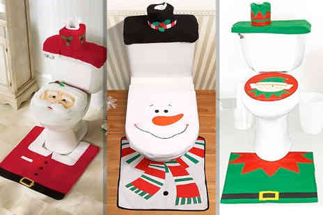 DM Logistic Solutions - Three piece Christmas toilet seat cover set - Save 65%