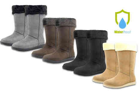 Class Watches - Pair of womens ultrasuede faux fur lined waterproof boots - Save 81%