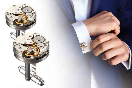 London Exchain Store - Pair of steampunk style watch movement cufflinks - Save 73%