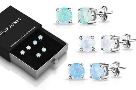 Groupon Goods Global GmbH - One or Three Pairs of Philip Jones Opal Earrings with Crystals from Swarovski® - Save 82%