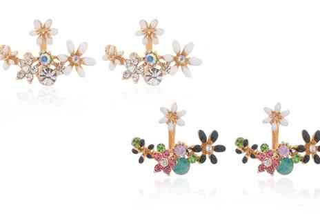 Groupon Goods Global GmbH - One or Two Pairs of Flower Halo Earrings with Crystals from Swarovski - Save 88%