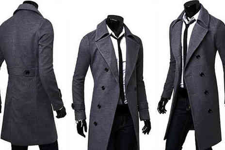 Graboom - Mens Double Breasted Long Coat in 3 Colours in Free Delivery - Save 64%