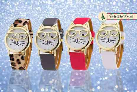 Solo Act - Womens cat geek watch choose from leopard print, grey, red or white - Save 76%