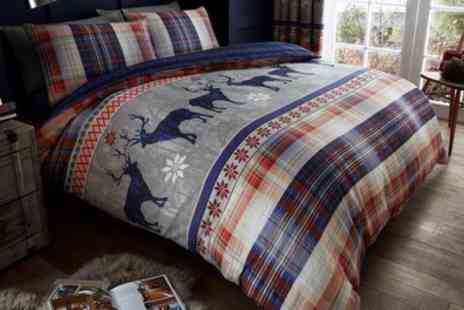 Groupon Goods Global GmbH - Heritage Stag Duvet Set or Curtains in Choice of Size and Colour - Save 50%