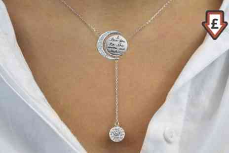 Groupon Goods Global GmbH - One or Two Philip Jones Moon and Back Necklaces with Crystals from Swarovski - Save 77%