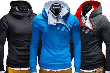Groupon Goods Global GmbH - Mens Stylish Overhead Hoodie with Snap Button Detailing - Save 50%