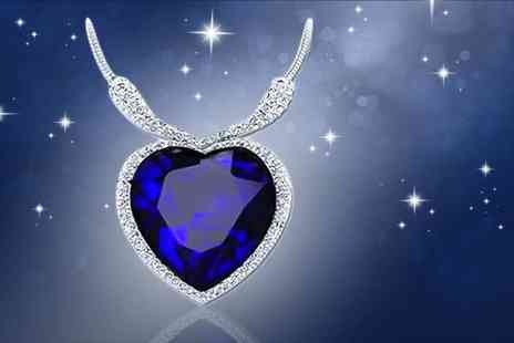 Solo Act - 5ct simulated sapphire ocean heart pendant - Save 87%