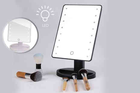 SHS Trading - Touch screen 16 LED illuminated make up mirror choose white or black - Save 50%