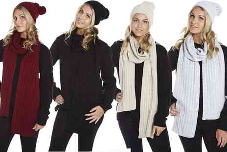 Groupon Goods Global GmbH - Chunky Knit Hat and Scarf Set in Choice of Colour - Save 0%