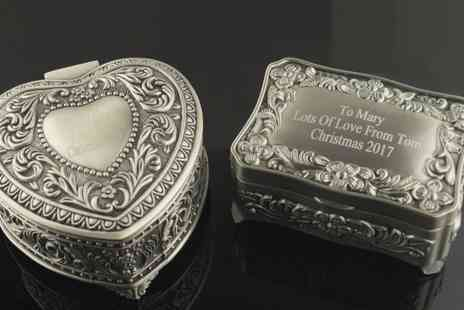 Aspire - Personalised silver plated trinket box choose from heart or square designs - Save 67%