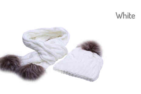 Graboom - Pom Pom Scarf and Winter Hat Choose 5 Colours - Save 48%