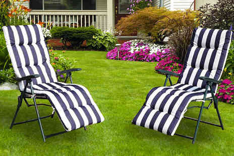 Mhstar - 2 x Reclining Garden Chairs Choose 3 Colours - Save 0%