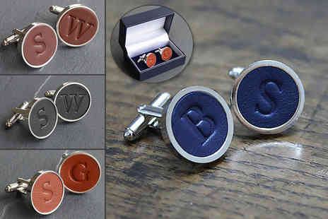Bond & Knight - Pair of personalised rhodium plated cufflinks choose from four colours - Save 75%