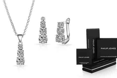 Groupon Goods Global GmbH - One or Two Philip Jones Graduated Solitaire Necklace and Earrings Sets with Crystals from Swarovski - Save 85%