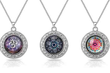 Groupon Goods Global GmbH - One, Two or Three Philip Jones Silver Plated Mandala Necklaces - Save 84%
