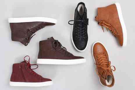 Groupon Goods Global GmbH - Womens Leather High Top Trainers with Merino Wool Lining in Choice of Colours - Save 67%
