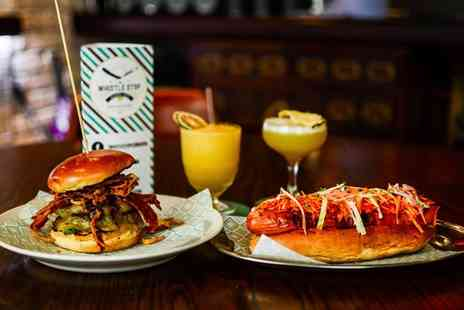 The Whistle Stop Barber Shop - Hot Dog or Burger with a Cocktail for Two or Four - Save 49%