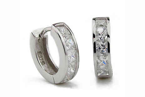 Elle and Be - White Gold Plated Clear Crystal Sleeper Hoops - Save 76%