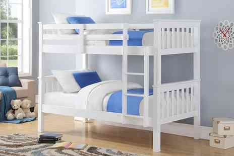 Groupon Goods Global GmbH - Harmony Wooden White Bunk Bed with Optional Single Mattresses With Free Delivery - Save 60%