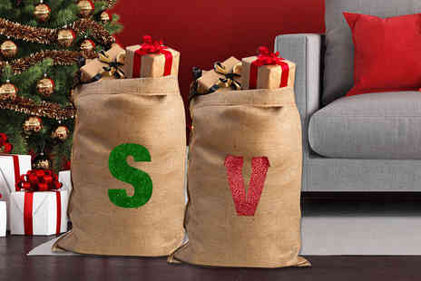 Treats on Trend - Glitter initial Christmas sack - Save 73%