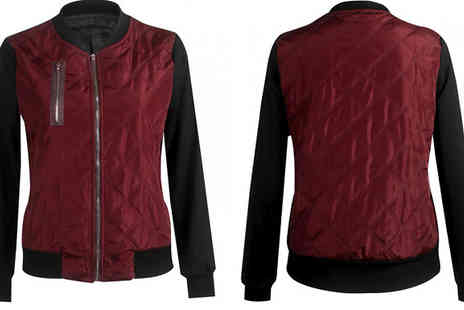 Bazaar me - Womens Quilted Bomber Jacket Available in 3 Colours - Save 75%