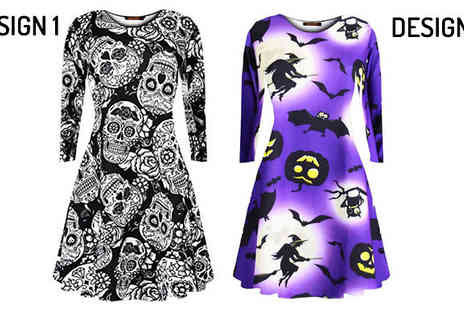 Orchid Deal - Ladies Halloween Swing Dress Available in 8 Designs - Save 0%